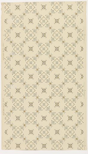 Trellis design ceiling paper with open square cells with alternating decoration of either a single, stylized four-petal blossom in the center or a diamond shape with a small quatrefoil in its center and one quatrefoil in each corner. Pattern is rendered in stencil-like detail, and printed in gold, gray and blue on khaki ground. Made in: New Brunswick, New Jersey, USA. Date: 1910s. Record ID: chndm_1979-91-1083.