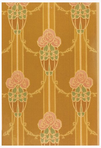 Cluster of three round pink roses on stems. Roses are printed on vertical stripes and are connected by swags. Printed in pink, green, tan and brown. Made in: New York, USA. Date: 1900s. Record ID: chndm_1985-19-37.
