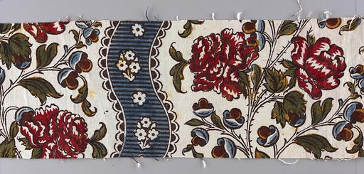 Undulating vertical stripes of blue with small white flowers, alternating with wider columns of large pink roses on a white ground. Date: 1760s. Record ID: chndm_1986-84-2-a_d.