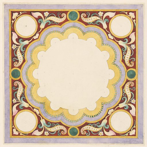 Design for square panel with circular field with concentric scalloped borders in yellow, lavender, and green and yellow stripes. Space outside of central field occupied by floral motif on red ground. Four white circles with yellow borders at four corners of panel. Date: 1830s. Record ID: chndm_1991-17-14.