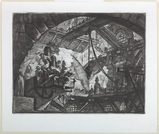 Horizontal rectangle. A broad, vaulted chamber with figures being tortured in the left foreground. Bridges connect galleries in the background. Upper right, calcografia number 358. Made in: Italy. Date: 1740s. Record ID: chndm_1959-182-9.