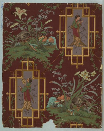 Chinoiserie design. a) features a white crane on a platform. Leaf clusters having the appearance of maple and oak and butterflies. Printed on a brown ground; b) contains 2 ornate bamboo frames, each with an Asian woman. In the alternating corners are white lilies and foliage. Printed on a deep burgundy ground. Made in: England. Date: 1880s. Record ID: chndm_1968-111-237-a_b.