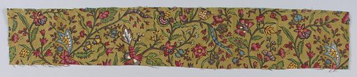 Small scale floral pattern in multi- color on drab background. Made in: France. Date: 1810s. Record ID: chndm_1973-51-122-a_b.