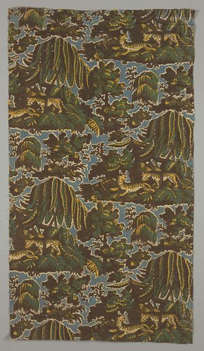 Two leopards under a tree in half-drop repeat. Two browns, yellow and blue. Made in: England. Date: 1800s. Record ID: chndm_1995-50-297.