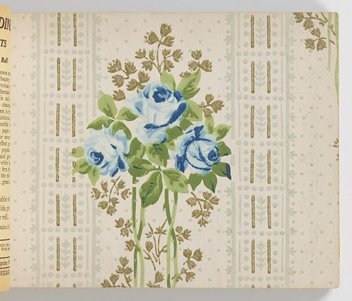 """Soft covers printed in yellow, green, blue, red, brown and black and showing eight examples of wallpapers, the majority of which are flowered. Inside are one-hundred samples of wallpaper, including samples of oatmeal paper, varnished tile paper, and gilt over-prints. There is one children's paper titled """"The Nursery"""" which is based on Mother Goose nursery rhymes. Made in: Chicago, Illinois, USA. Date: 1910s. Record ID: chndm_1960-78-1-1_102."""
