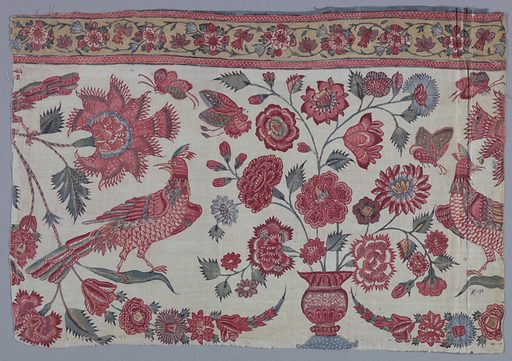 Two sections of a border with birds, flowering vases and garlands. Guard border of yellow at the top. Made in: India or Persia. Date: 1700s. Record ID: chndm_1973-51-17-a_c.