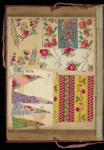 Red cloth bound portfolio containing 154 miscellaneous samples of printed cottons. Made in: France. Date: 1850s. Record ID: chndm_1973-6-7.