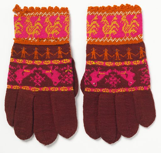 Dark red gloves in small, tight stitches with a broad band of addorsed birds with stylized floral motif between in pink and yellow in the palm area. Narrow band between palm and cuff with a chain of orange figures with blue eyes. Straight deep pink cuff with a band of parading roosters in yellow. Made in: Kulosaari, Finland. Date: 1880s. Record ID: chndm_1956-121-3-a_b.