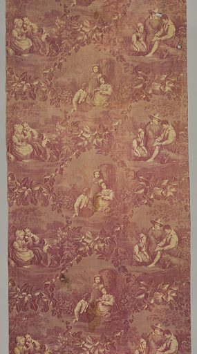 """Straight repeat of three offset scenes framed by am ivy vine fulling full width of fabric. Each scene illustrates children in a field. Length of repeat: 42cm. (16 1/2""""). Fabric does not seem to be wide enough for the pattern. Made in: Central Europe. Date: 1830s. Record ID: chndm_1976-30-5-a."""
