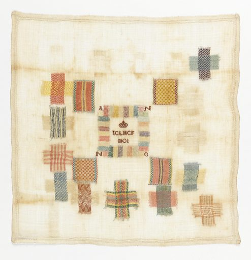 Twenty-one darning squares. Decorative insert patch in the center. The letters I C L H C F and the date under a crown. Date: 1800s. Record ID: chndm_1981-28-204.