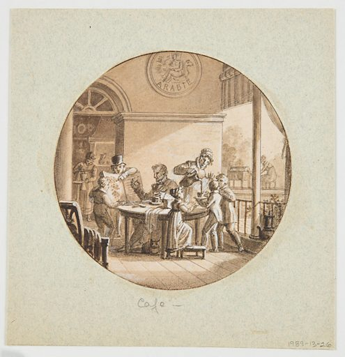 Circular format. Six figures are grouped on the porch of a coffee plantation house in Arabia (indicated by the decorative plaque above the wall moulding. A gentleman in high hat points to a botanical book showing a drawing of the coffee plant. A man, seated at a table, appears to be holding a coffee bean pod in his right hand. To his left, a woman is pouring coffee into a cup held by a young boy. A woman, seen through the doorway (rear left) is grinding coffee beans. Another woman, seen outdoors (rear right) appears to be working at a bean roasting apparatus. Made in: France. Date: 1810s. Record ID: chndm_1989-13-26.