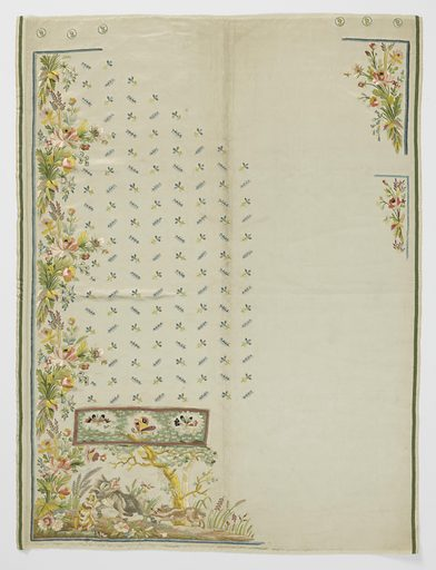 Two incomplete panels for a waistcoat of white satin embroidered in multicolored silks. Corners beneath pocket flap show a design of two hunting hounds attacking a wild boar. Pocket flaps have butterflies, and front opening edge has dense flower cluster borders. Body has an open design of blue and yellow sprigs. Embroidery for the lapels in the opposite corner. Made in: France. Date: 1800s. Record ID: chndm_1962-54-32-a_b.