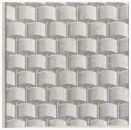 Square of paper printed with basketwork or basket weave pattern in grisaille. Vertical rods and the use of light and shadow create a strong sense of relief or trompe l'oeil. Made in: Paris, France. Date: 1780s. Record ID: chndm_1931-45-16.