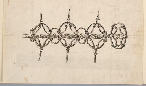 Horizontal rectangle. Three parts, each consisting of lozenges, formed by long stems from which leaf volutes spring. The volutes of each side are connected by festoons, and the neighboring volutes of the different parts are connected by smaller festoons. The center of the parts and the connections consist of a chain formed by alternating ovals and lozenges connected by disks. The clasp is an oval garland with two palmettes. Made in: Rome, Italy. Date: 1830s. Record ID: chndm_1938-88-549.