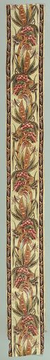 """Continuous curving design of exotic """"indienne"""" flowers turning alternately right and left; brown guard stripes with a repeating, small-scale cornucopia pattern. In mauve, blue, green, tan, yellow, red, and pinks, with brown and red outlining, on white ground; glazed. Made in: England. Date: 1780s. Record ID: chndm_1955-1-10."""
