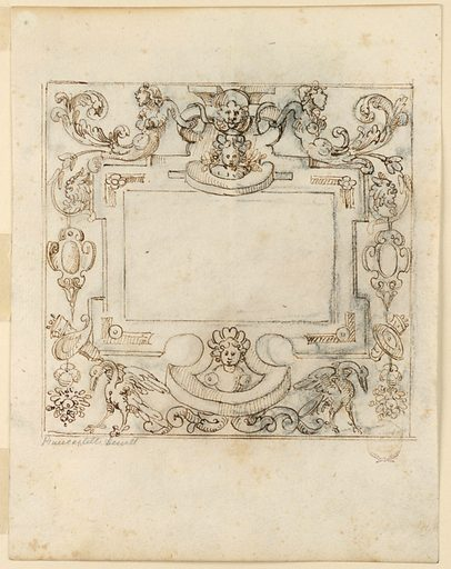 Frame with grotesque decoration. At top center, child and lion masks flanked by half figures of armless mermaids with acanthus tails. Below, escutcheons, trophies, and birds. Blank central panel. Double framing lines. Verso: A figure seated below a canopy in a wagon drawn by cows. Made in: Italy. Date: 1600s. Record ID: chndm_1901-39-1733.