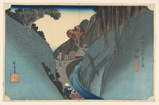 A torrent of water rushes down the pass between overhanging hills, towards right with trunks of pine trees. On the path bordering the stream are peasants bearing bundles of wood. Made in: Japan. Date: 1820s. Record ID: chndm_1948-134-22.