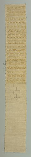 Sampler with twenty-one complete cross borders in geometric and floral designs. Some designs unfinished. Embroidery in yellow silk. Made in: New York, New York, USA. Date: 1910s. Record ID: chndm_1942-47-12.