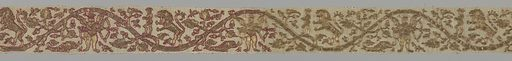 Design shows a stiffly curving stylized vine through which move a lion pursuing a youth, a cupid (?) blindfolded with bow and arrow, a dragon, and birds. The gold thread is couched on, to produce the main body of the design, and is outlined in red silk, in part of the piece, then pale pink silk. Metal-wrapped silk couched by silk of various colors, padded couching, couched loops of metal-wrapped silk, attached coils of flat metal strips. Metallic yarns are couched in pairs for large dense areas, two plied Z for outlines, and two plied Z and re-plied S for outer border. Made in: Europe. Date: 1500s. Record ID: chndm_1954-167-2.
