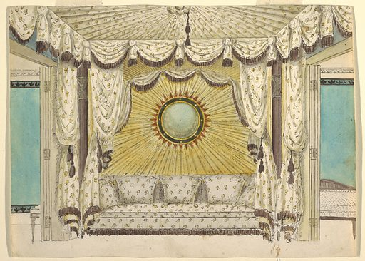 Design for an alcove between two rooms, with a sofa upholstered in a fabric matching the flanking drapery curtains and the tented ceiling canopy. Above the sofa, the wall is decorated with fluted golden drapery radiating from a convex, sun-shaped mirror. Drapery frames the sofa recess and doorways. The walls of the rooms on either side are turquoise. Date: 1810s. Record ID: chndm_1948-40-26.