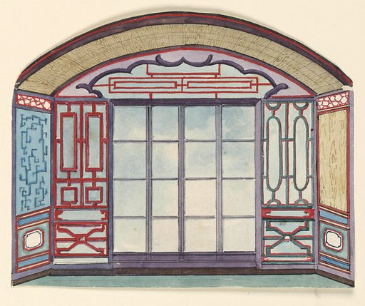Design for the Royal Pavilion, Brighton. Design for an alcove with an arched ceiling and a window. Painted lattice-work designs on the walls and on the lunette above the windows. Date: 1800s. Record ID: chndm_1948-40-66.