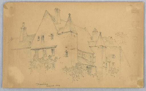Sketch from one corner of the building. Made in: USA. Date: 1880s. Record ID: chndm_1948-47-150.