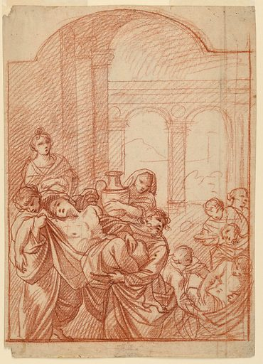 At left a sketch of a nude man being carried by two men. Behind the man a woman looks on while another behind them carries a large vessel. To the bottom right another man is being carried while others look on behind. In the background draft of architectural columns and arches. Made in: Italy. Date: 1640s. Record ID: chndm_1901-39-590.