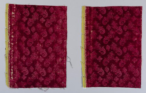 Deep red velvet stamped with a motif of diagonal floral forms , rosettes and fleur-de-lys. Date: 1700s. Record ID: chndm_1902-1-462-a_b.