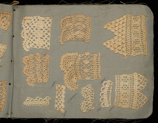 Oblong sample book of linen with 25 pages of samples of crochet worked in linen and cotton. Made in: USA. Date: 1900s. Record ID: chndm_1957-130-9.