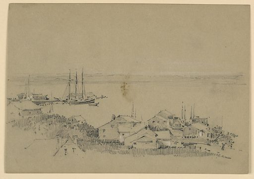 Low coast in background; boat with a sailboat at a pier, left. Group of houses, lower right. House roof, foreground, left. Made in: USA. Date: 1880s. Record ID: chndm_1948-47-106.