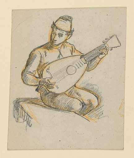Young male figure seated on a bench, turned slightly to the right, playing a lute. Made in: USA. Date: 1900s. Record ID: chndm_1955-38-26.