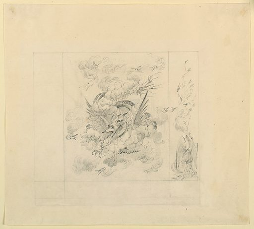 Design for wall decoration, showing a large central panel of dragon with outstretched wings and twisted tail, fiercely breathing fire, and surrounded by smaller dragons. One of the two marrow panels which flank the central, only the one at right is sketched in, its subject, a dragon breathing fire, smaller dragons. Date: 1810s. Record ID: chndm_1948-40-24.