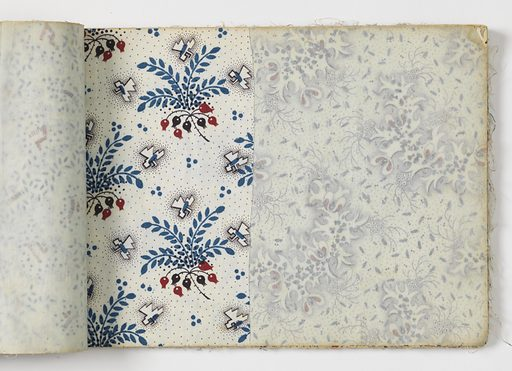 Oblong book with blue cardboard covers contains 46 samples of printed cotton; two have been cut in half. Six individual patterns balance duplicates. Designs are small scale, printed mostly in bright red, blue green, and dark brown. Probably combination roller and block-printing. No selvage. Made in: England. Date: 1820s. Record ID: chndm_1954-173-1.