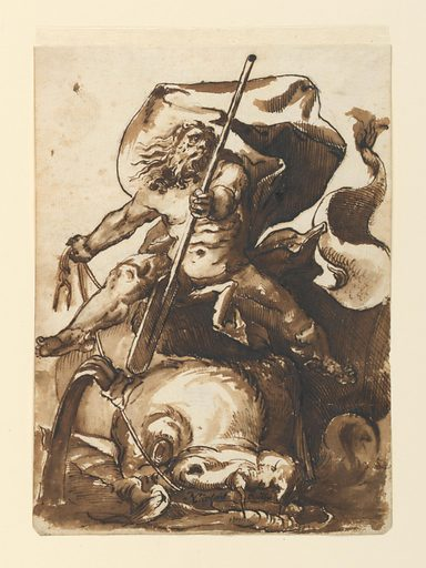 Figure of Neptune or Poseidon after a woodcut by Hendrik Goltzius. Neptune, holding a paddle, is seen astride a dolphin, which he guides with reins. Artist after: Hendrik Goltzius, Netherlandish, 1558 – 1617. Made in: France. Date: 1730s. Record ID: chndm_1901-39-385.