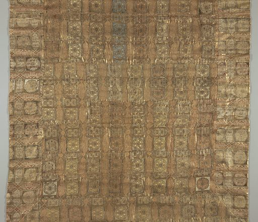 Large rectangular panel made of many small rectangular pieces of gold cloth. Gold rosettes in squares alternate with elongated hexagons filled with diapers or landscapes. Silks in soft blue, peach and yellow bound in twill weave adn gilded paper strips bound in plain weave fill subordinate areas of these designs. Pulp paper backing; green silk facing. Made in: Japan. Date: 1800s. Record ID: chndm_1951-112-9.
