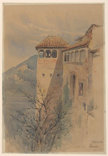Steep tower-like walls, right, with window openings near the top, and surmounted by arcades beneath tile roofs. Mountain in background, left. Made in: USA. Date: 1890s. Record ID: chndm_1948-47-24.