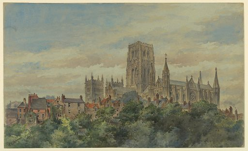View over the treetops of Durham Cathedral, as seen from the southeast, and showing surrounding houses. Made in: USA. Date: 1880s. Record ID: chndm_1948-47-32.