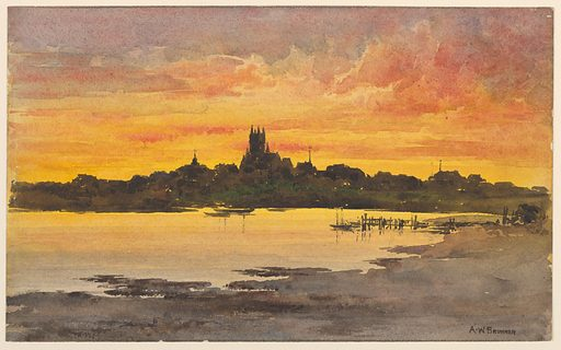 The shore-line in the background, with the buildings of the town shown in silhouette against the warm reds and yellows of the sky at sunset. Made in: USA. Date: 1880s. Record ID: chndm_1948-47-7.