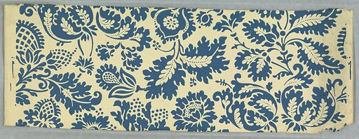 This design gives the effect of being stencilled. A stylized design of pineapples and pomegranates. Printed in blue design on ivory field. Made in: London, England. Date: 1860s. Record ID: chndm_1941-74-27.