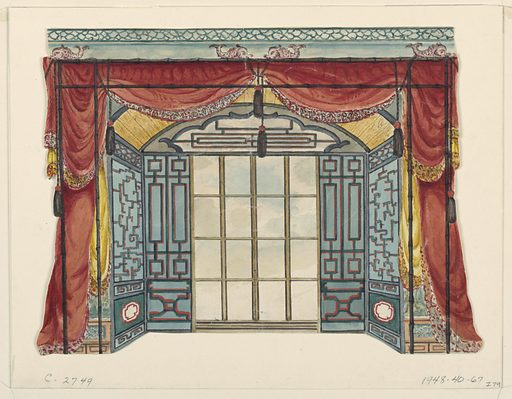 Horizontal rectangle. Design for the Royal Pavilion, Brighton. Design for an alcove with an arched ceiling and containing a window. A lattice-work pattern on the walls. Festoons of drapery at entrance to alcove. Above the drapery, a cornice is visible with decoration of dolphins and lattice-work. Made in: England. Date: 1810s. Record ID: chndm_1948-40-67.