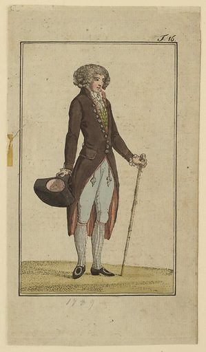 Engraved, hand-colored fashion plate featuring a full-length figure of a man with curly hair or a wig, turned towards the right. He carries his black hat in his right hand and a light brown cane in his left. He wears pale blue breeches and a long, brown coat with a white cravat and green and yellow checked waistcoat underneath. Appeared in Journal des Luxus und der Moden (Journal of Luxury and Fashions), Volume 4, No. 6, June 1789, facing p. 276. Made in: Germany. Date: 1780s. Record ID: chndm_1952-127-3.