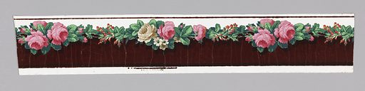 Horizontal rectangle. Cluster of pink roses alternating horizontally with cluster of pink and white roses and white daisies. Green leaves. Ground at top is white, glazed. Below the flower band the field is dark red flock. Made in: France. Date: 1860s. Record ID: chndm_1954-155-3.