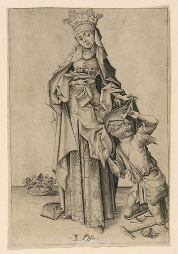 St. Elizabeth covering a cripple with a mantle. She wears a crown, carries a crown and a third one is on the ground beside her. Made in: Bocholt, Westphalia, Germany. Date: 1500s. Record ID: chndm_1949-29-30.