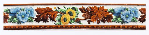 Same design as 1952-52-19 but leaf cluster, and dentil molding at bottom, are in orange flock. Also one of the flower clusters is yellow and green instead of white and green. Clusters of leaves and clusters of flowers connected by stems as above. Printed on white glazed ground. Made in: France. Date: 1820s. Record ID: chndm_1952-52-20.