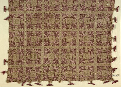 Panel of linen divided into squares by bands of drawn-work; each square ornamented by drawn-work and embroidery in red silk. Toggles of red and yellow silk are fastened at the edge of the pillow cover by braided ornaments of yellow silk. Stitches using silk: back for linear pattern. Withdrawn element work with overcasting and interlacing using silk. Date: 1600s. Record ID: chndm_1948-3-3.