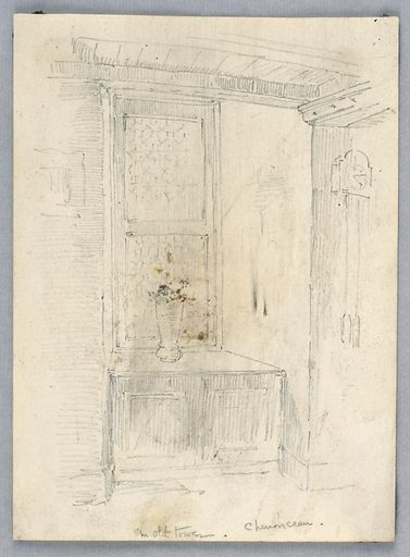 Window, with ledge, low ceiling, in the old tower at Chenonceau. Made in: USA. Date: 1880s. Record ID: chndm_1948-47-120.