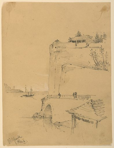 Large fortified embankment, right, extending into a bay with a boat on it. Bridge, lower right. Figures along bridge. Made in: USA. Date: 1880s. Record ID: chndm_1948-47-179.