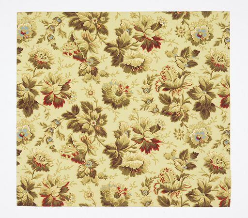 Aesthetic-style all-over pattern of large fanciful flowers with foliage; two motifs in alternating columns; attempts at naturalistic shading; color scheme strongly yellow with darker yellow-green and bright red and blue highlights; pale yellow ground. Made in: USA. Date: 1880s. Record ID: chndm_1970-26-4-ct.