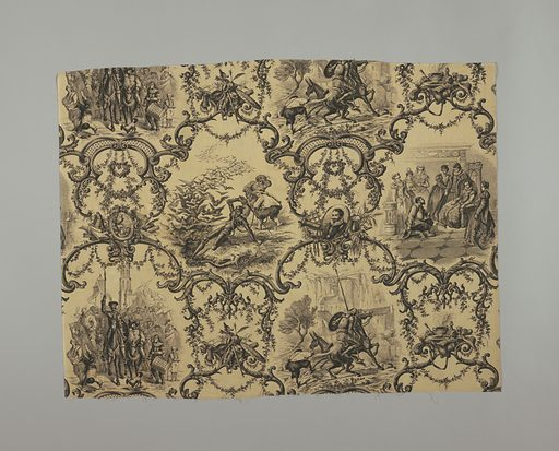 """Cream colored cotton, printed in black. Scenes from Don Quixote. Elaborate enframents in rococo style for various episodes. On grouped emblems inscriptions: Amadis de Gaula, Ami Dulcinea"""". On another: """"Post Tenebras Spero Lucem, Galatea, Buscapia, etc."""" Both selvages present. Each scene about 0M260 high (10 1/2""""). Date: 1850s. Record ID: chndm_1960-55-2-a_b."""