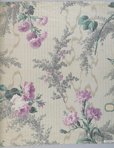 """A) Background with grey moire effect, dotted stripes in clusters and fine pinstripe in grey. Floral pattern of natural size rose clusters and foliage in green, light grey-green and brown, glazed. Ground by """"molette"""", pattern roller printed. Date: 1820s. Record ID: chndm_1967-10-17-b."""